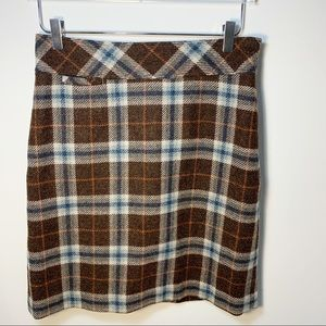 LL BEAN Favorite Fit Brown Plaid Wool Blend Midi Skirt Lined Size 6P